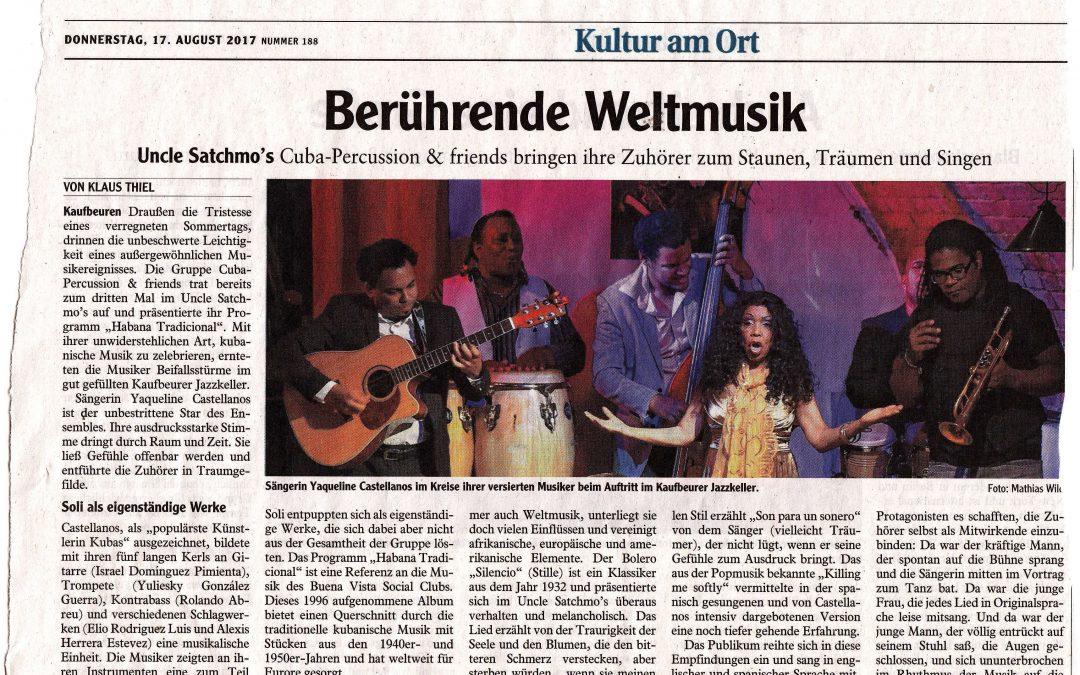 Berührende Weltmusik im Satchmos 12.8.2017